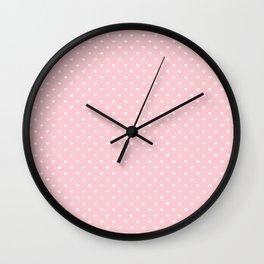 Mini White Love Hearts on Millennial Pink Pastel Wall Clock