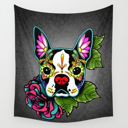 Boston Terrier in Black - Day of the Dead Sugar Skull Dog Wall Tapestry