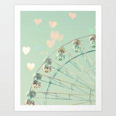 erris wheel nursery and heart bokeh on pale blue Art Print