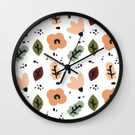 cute fall autumn pattern background with abstract elements, flowers and leaves Wall Clock
