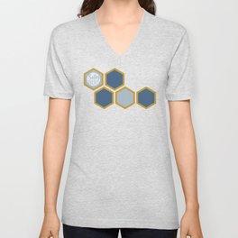 HONEYCOMB | BLUE + GOLD Unisex V-Neck