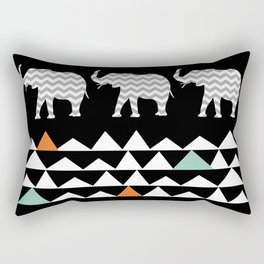 Tribal Elephants, Aztec Andes Pattern Rectangular Pillow