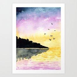 Sunset Birds Art Print