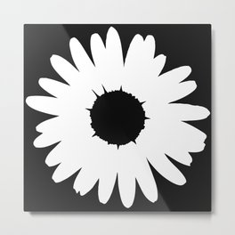 Black and White Daisy Metal Print