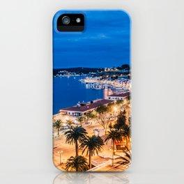 Paisaje nocturno del puerto de maó iPhone Case