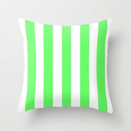 Screamin' Green - solid color - white vertical lines pattern Throw Pillow