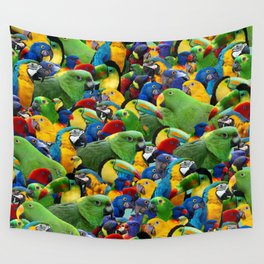 Parrots collage birds photo print parrots pattern green blue red yellow Wall Tapestry