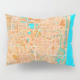 Fort Lauderdale, FL, USA, Gold, Blue, City, Map Pillow Sham