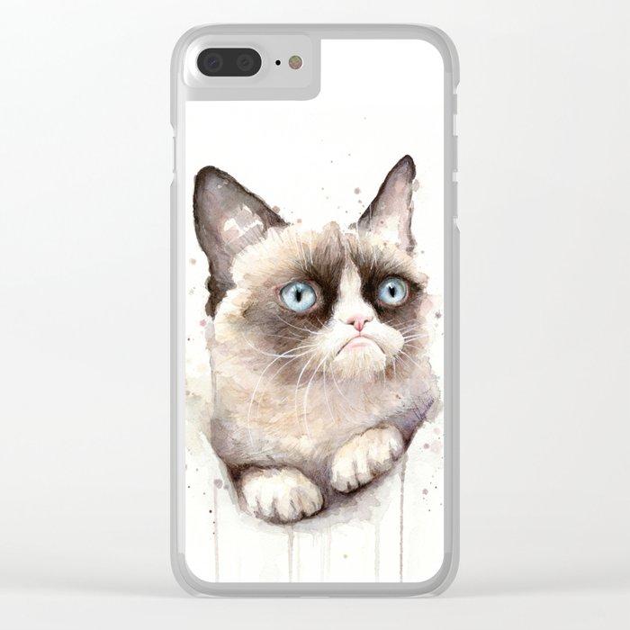 Grumpy Watercolor Cat Animals Meme Geek Art Clear iPhone Case