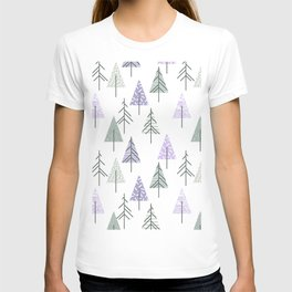 Geometrical lilac white forest green watercolor winter trees T-shirt