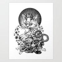 satan Art Prints featuring Satan cat by Yulia Hochulia