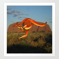 kangaroo Art Prints featuring Kangaroo by Knot Your World