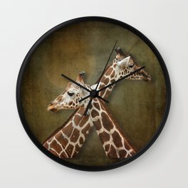 Giraffes Passing in the Night Wall Clock