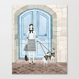 Lady With Two Dogs Canvas Print
