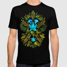 Tropical Symmetry – Turquoise & Olive Palette Black X-LARGE Mens Fitted Tee