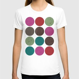 leather dots on white T-shirt
