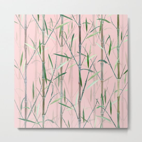 Bamboo Forest Pink Metal Print