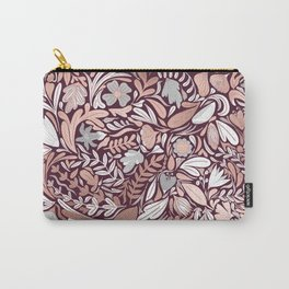 Rose Gold Burgundy Floral Illustration Pattern Carry-All Pouch