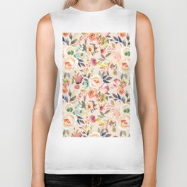 Hand painted ivory pink brown watercolor country floral Biker Tank