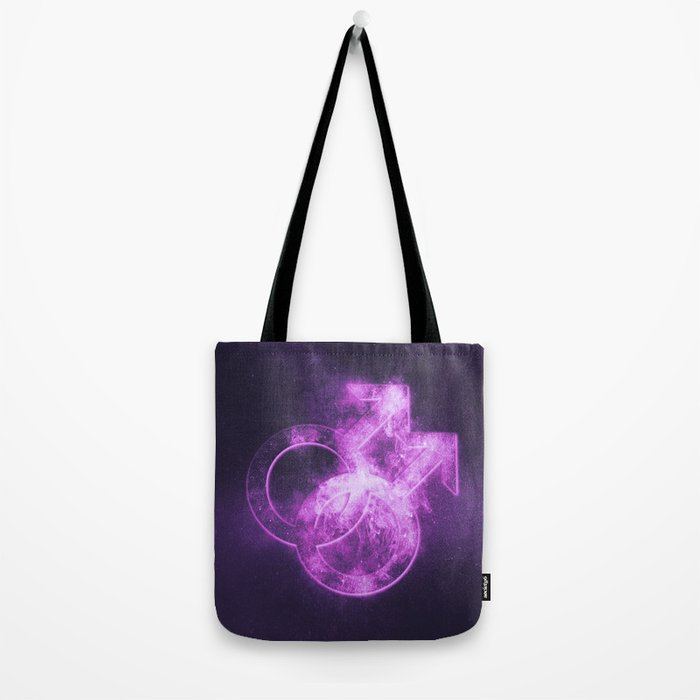 Male homosexuality symbol. Gay glyph. Doubled male sign. Abstract night sky background Tote Bag
