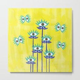Evil Eye Nazar protective Garden Yellow Metal Print