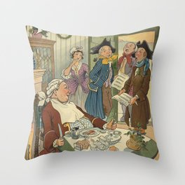 Vintage Christmas Caroling Illustration (1903) Throw Pillow
