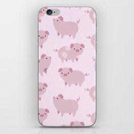 Cute Pink Piglets Pattern iPhone Skin