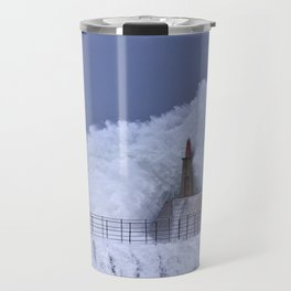Stormy wave over old lighthouse and pier of Viavelez in Asturias, Spain. Travel Mug