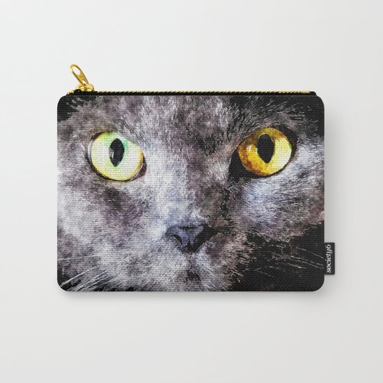Black cat - Animal Watercolor Illustration Carry-All Pouch