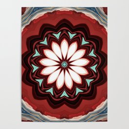 Decorative Deep Red and White Flower Design Poster