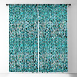 Malachite Turquoise Sparkle Faux Gold Rhomb Pattern Blackout Curtain