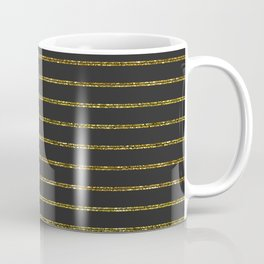 Black & Gold Glitter Stripes Coffee Mug