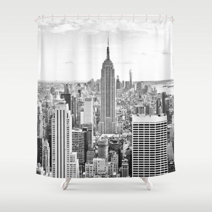 New York City, Manhattan (Black & White) Shower Curtain by zado ...