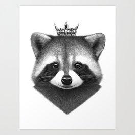 Queen raccoon Art Print