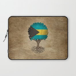Vintage Tree of Life with Flag of Bahamas Laptop Sleeve