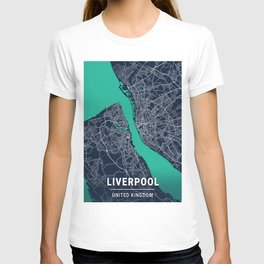 Liverpool Blue Dark Color City Map T-shirt