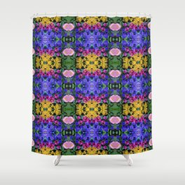 Floral Spectacular: Blue, Plum, Gold - square repeating pattern, Olbrich Botanical Gardens, Madison Shower Curtain
