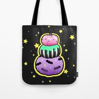 pastel goth Tote Bags featuring Pastel Goth Pumpkin Stack by MagicCircle