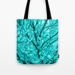 The Cyan Colored Snow Tree Tote Bag