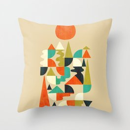 Mountains Hills and Rivers Throw Pillow