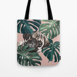 Pug with Monstera Leaf Tote Bag
