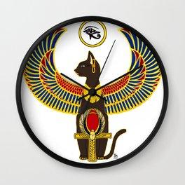 Winged Bast w/Ankh Wall Clock