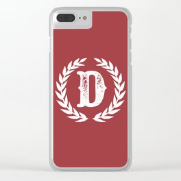 Rustic Red Monogram: Letter D Clear iPhone Case