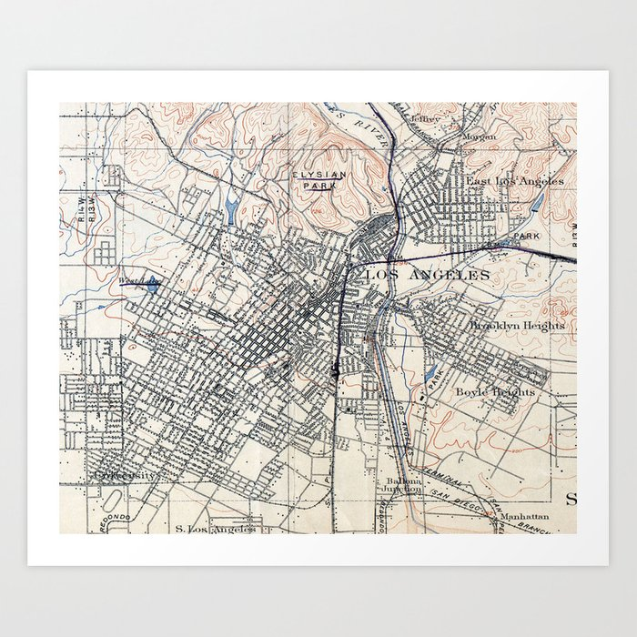 Vintage Map of Los Angeles California 1894 Art Print by