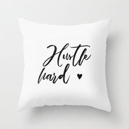 hustle hard - white Throw Pillow
