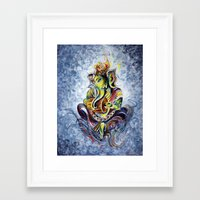 ganesha Framed Art Prints featuring Ganesha by Harsh Malik