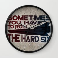 battlestar Wall Clocks featuring Hard Six by Stuckey