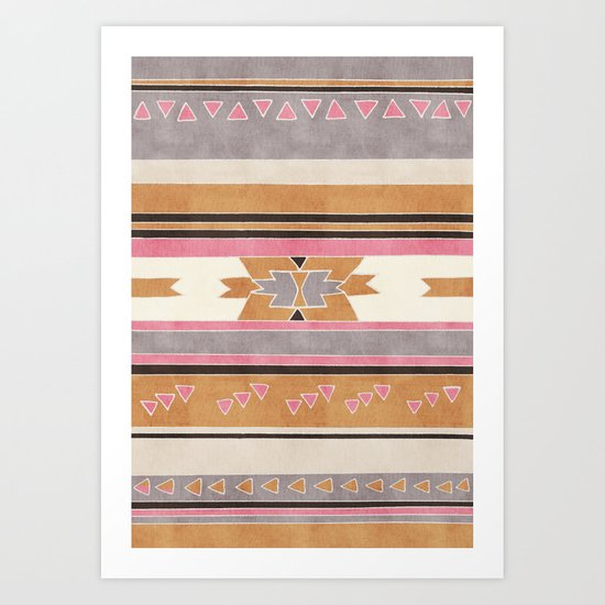 Rustic Tribal Pattern in Raw Sienna, Strawberry and Ash Art Print