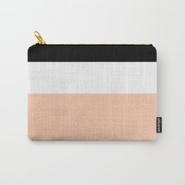 Ultra Simplicity with Texture Detail Minimalist Lines Abstract Peach & Black Carry-All Pouch