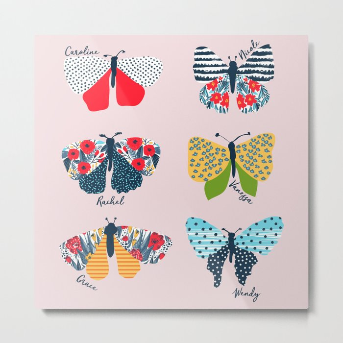 Funny butterflies illustration Metal Print